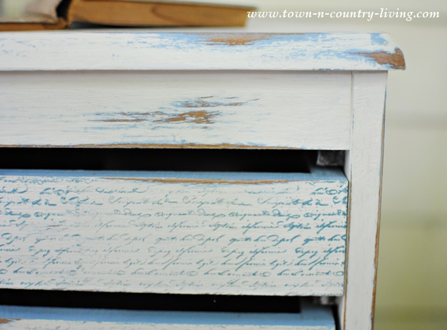 Script Stamping on Painted Furniture