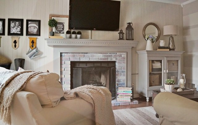Cottage Style Family Room Makeover at Seeking Lavender Lane