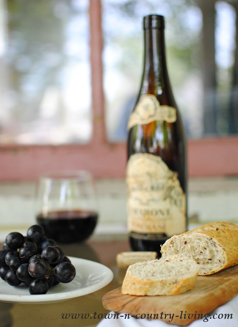 Summer Snack of Wine, Grapes, and a Crusty Loaf of Bread