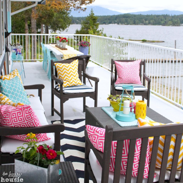 Colorful Pillows on Lakeside Deck