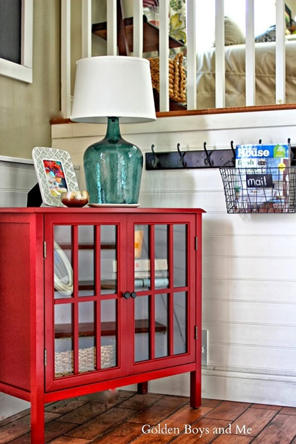 Red Cabinet in Entry Way