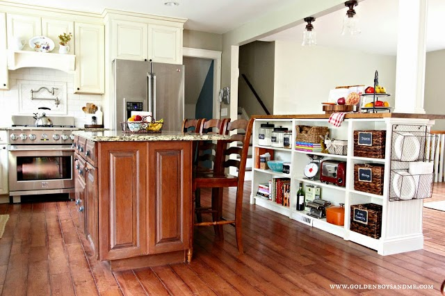 Kitchen with island created from Billy Ikea bookshelves