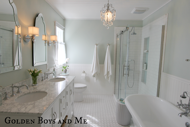 Traditional style bathroom with soaking tub