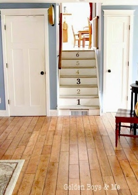 Numbered Staircase and Rich Wood Plank Floors