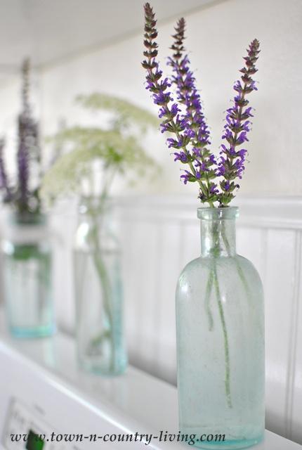Purple Sage in Vintage Aqua Bottle
