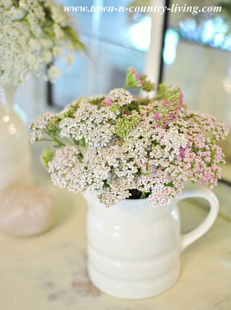 Wildflowers in White Ironstone Pitcher