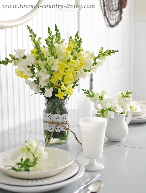 Yellow and White Snapdragons in Mason Jar Wrapped with Eyelet