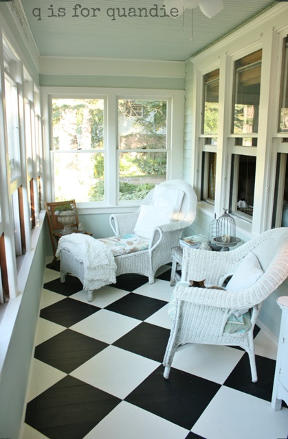 Front Porch with Checkerboard Floor