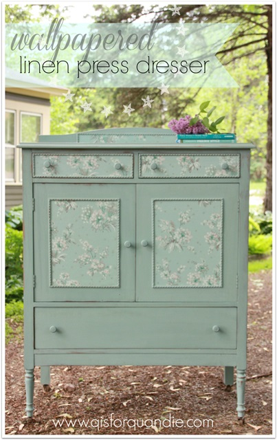 Wallpapered and painted linen chest
