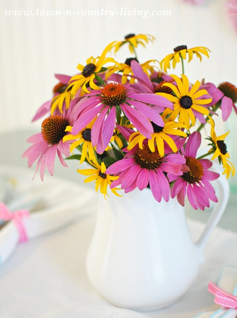 Pretty Bouquet of Coneflowers and Rudbeckia Picked Fresh from the Garden
