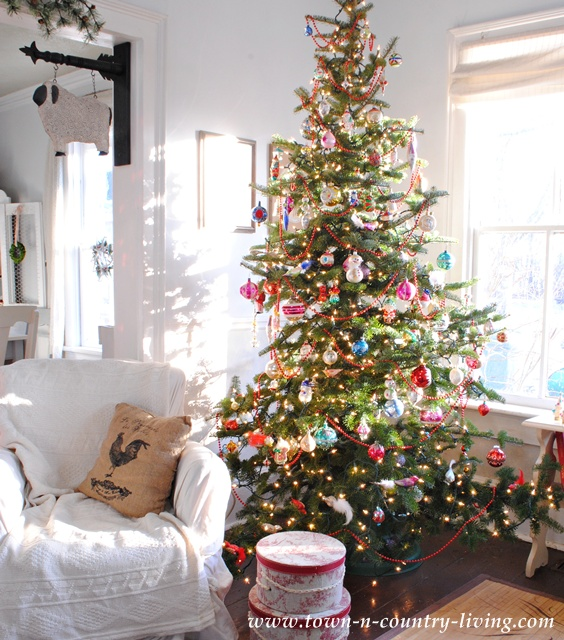 Christmas tree decorated with vintage blown glass ornaments