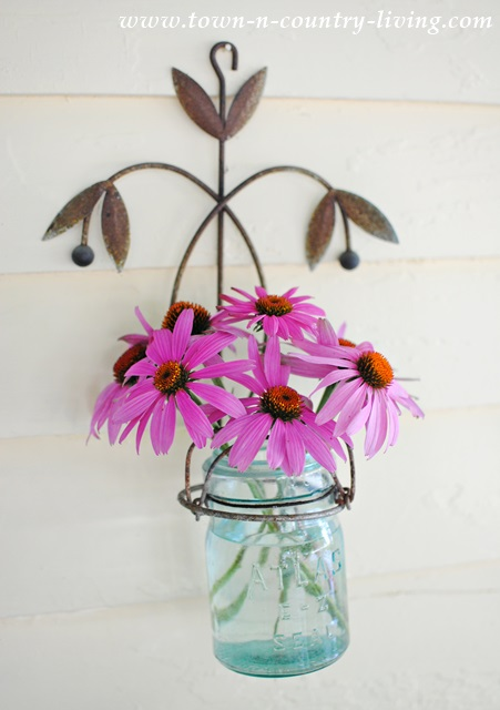 Coneflowers in blue Atlas jar