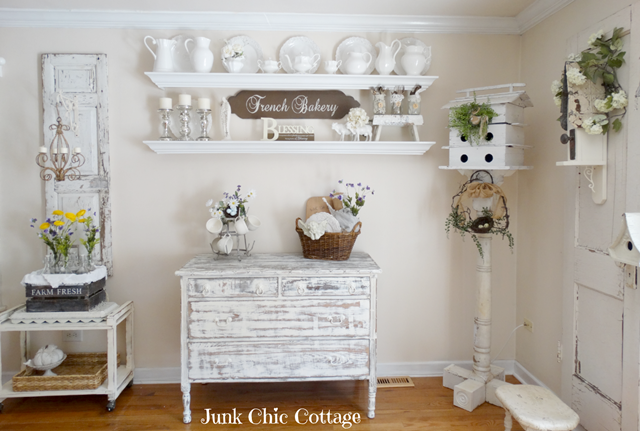 Chippy White Dresser serves as sideboard in shabby chic dining room