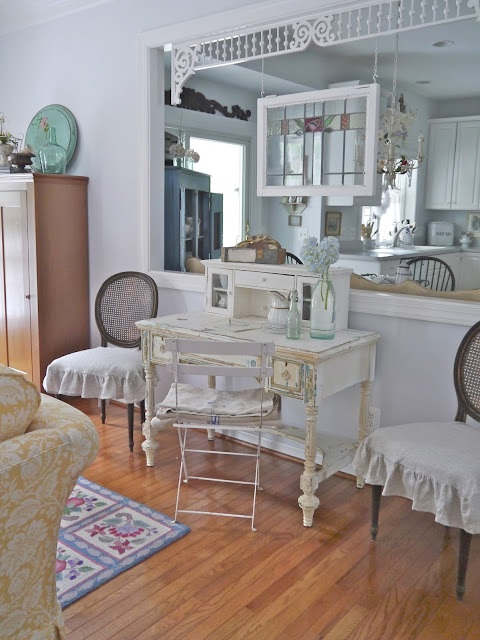 Shabby Chic Family Room with View to Kitchen