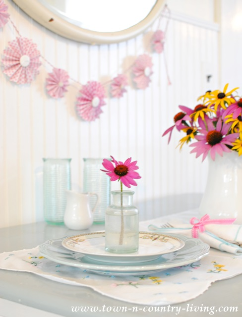 Garden flowers for simple summer table setting