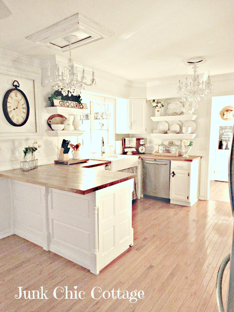 White kitchen at Junk Chic Cottage