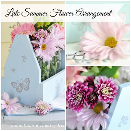 Late Summer Floral Arrangement in Painted Wooden Tote