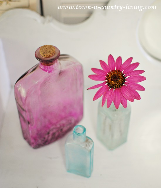 Purple and Aqua Vintage Bottles with Coneflower