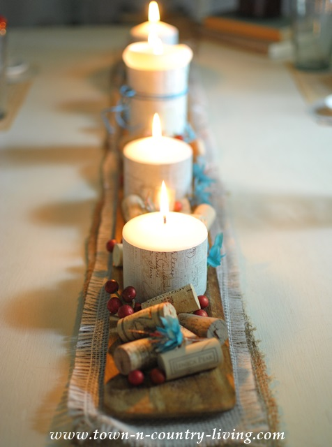 Candles on French Baguette Board Creates Romantic Fall Centerpiece