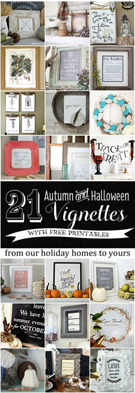 Collage of 21 Fall Vignettes with Free Printables