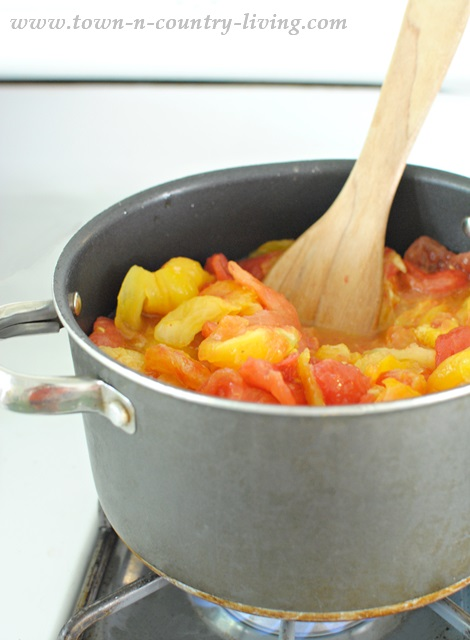 Cooking Down Heirloom Tomatoes for Tuscan Style Tomato Soup