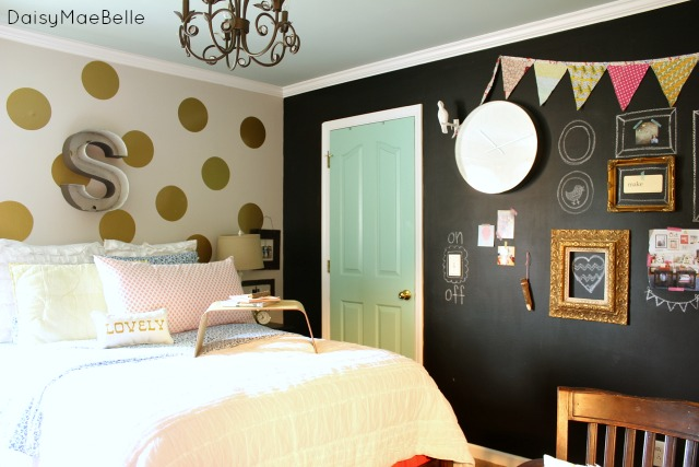Girl's Vintage Style Bedroom with Chalkboard Wall