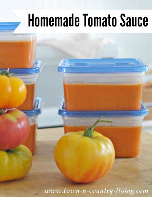 Homemade Tomato Sauce from fresh garden tomatoes.