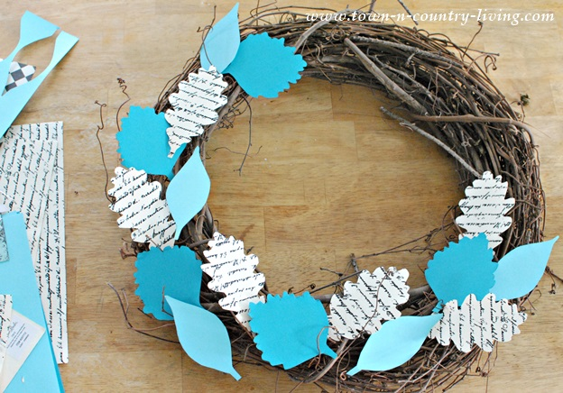 Create a Fall Wreath by Gluing Paper Leaves to Grapevine Wreath