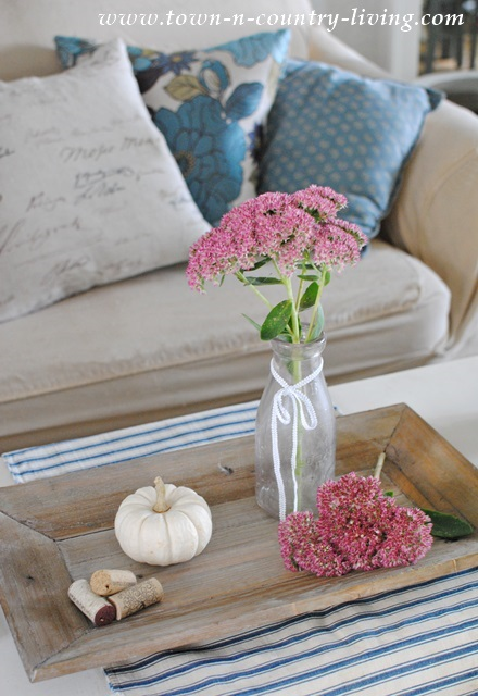 Living Room Fall Vignette with Pink Sedum and Baby Boos
