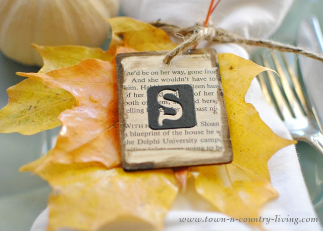 Initial Place Cards for Fall or Thanksgiving Table