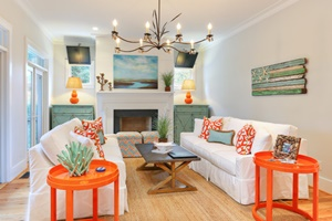 DIY Home Decor. Fun colors in the home, aqua and orange.