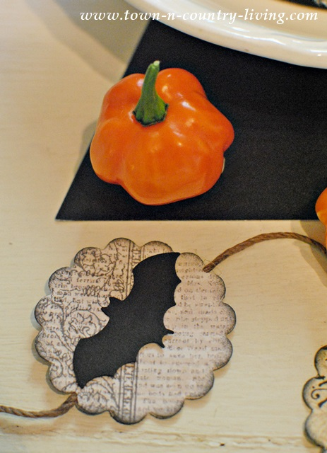 Orange Habanero Peppers with Halloween Garland