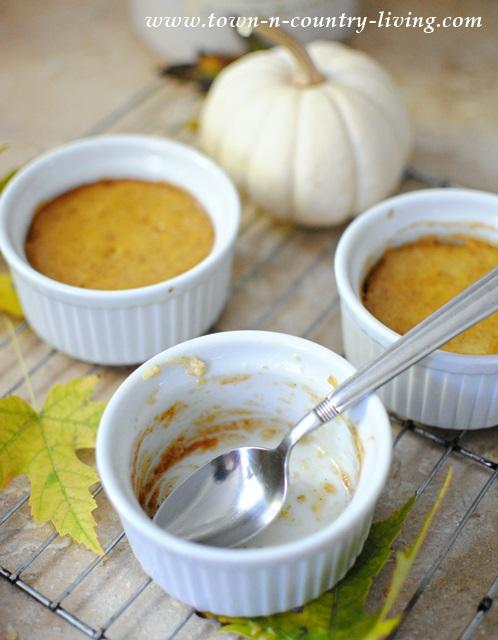 Pumpkin Souffles made with leftover pumpkin pie ingredients