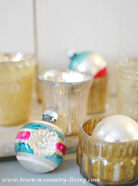 Metallic votives and Shiny Brite Christmas ornaments