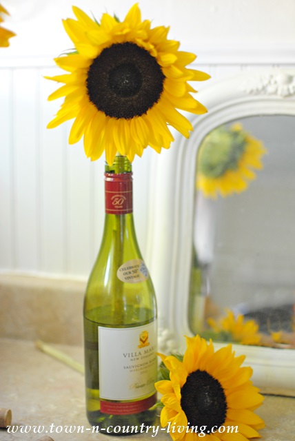 Sunflower in a Wine Bottle makes a beautifully simple display