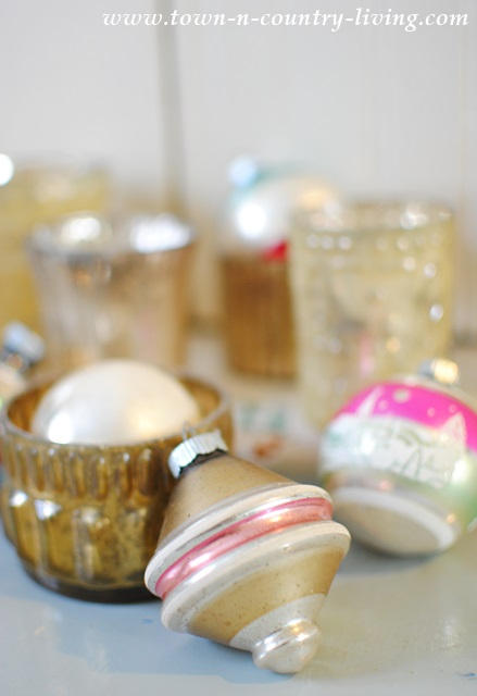 Vintage Shiny Brite Ornaments with Silver and Gold Votives