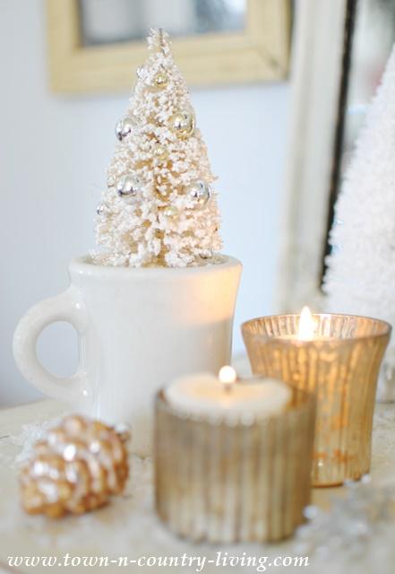 Bottle Brush Christmas Tree in White Ironstone Shaving Cup