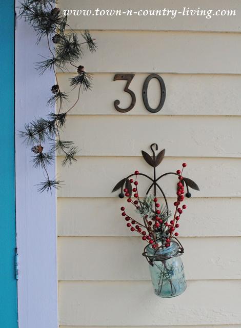 Mason Jar with Holiday Berries and Greens