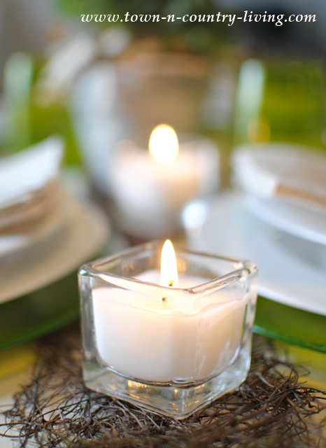 Dinner by candlelight in a modern country table setting