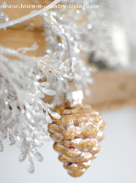 Glitter Glass Pine Cone Ornament