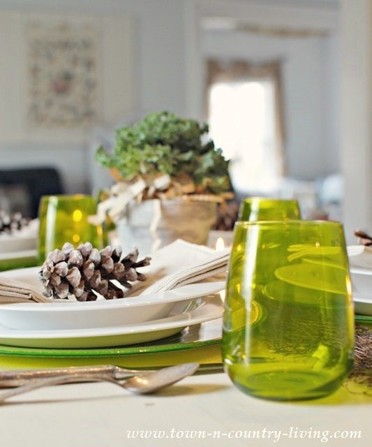 Green and White Modern Country Table Setting