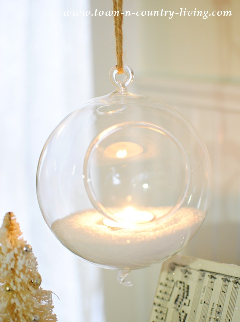 Hanging Snow Globe with Votive Candle