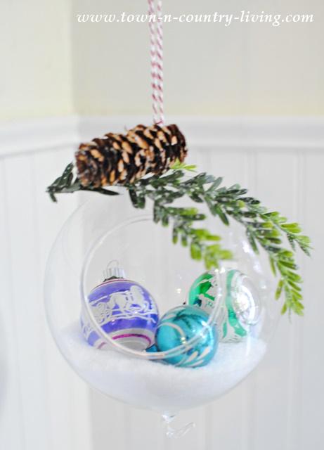 Hanging Snow Globe made from Glass Terrarium
