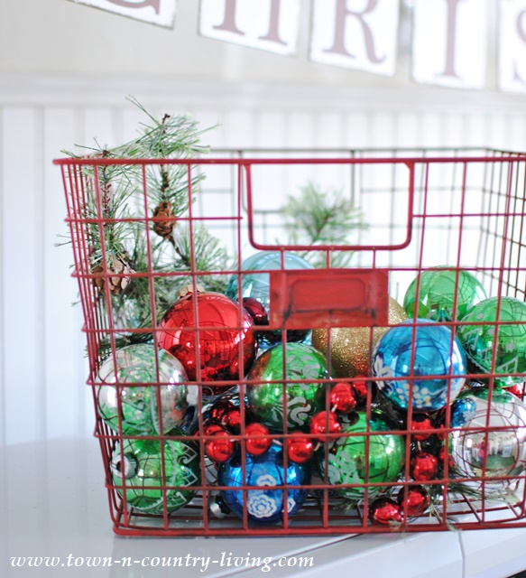 Red Wire Basket of Vintage Ornaments