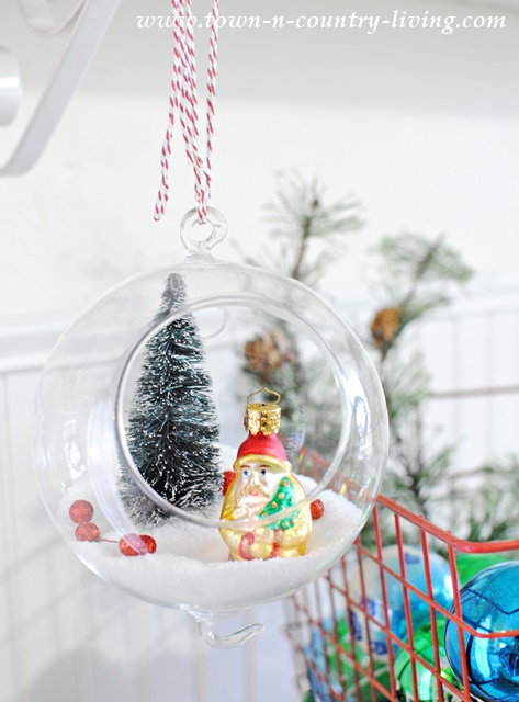 DIY Hanging Snow Globe with Santa Ornament