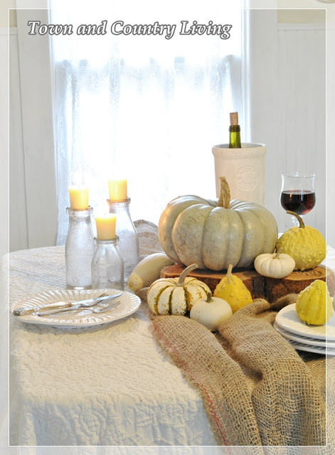 DIY Home Decor -Simple Centerpiece of gourds and landscape burlap