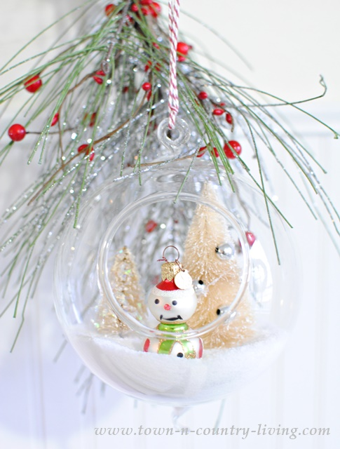 Snowman and Bottle Brush Trees in Hanging Snow Globe