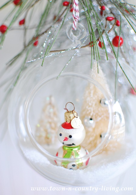 Snowman in Hanging Snow Globe Christmas Ornament