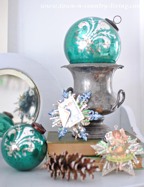 Turquoise Glass Ornaments and Vintage Trophy