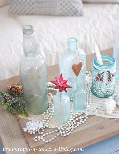 Vintage Aqua Bottles Create Pretty Christmas Vignette